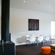 spacious dining area and fireplace