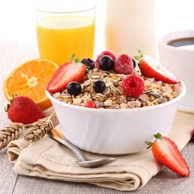 Cereal, juices, fresh fruit, toast and more...